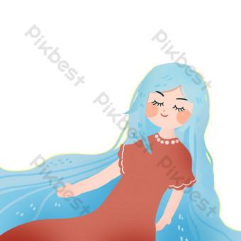 algas como la hija del océano de pelo azul hebilla libre ilustración Elementos graficos Modelo PSD