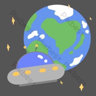ilustración de dibujos animados de nave espacial extraterrestre Elementos graficos Modelo PSD