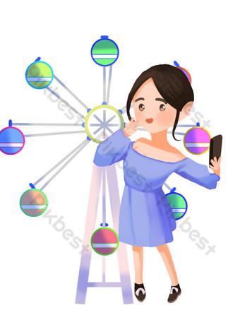 Amusement park tourist girl selfie illustration PNG Images Template PSD