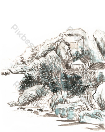 Ancient Landscape and Secluded Residence PNG Images Template PSD