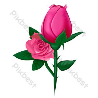 flor artificial rosa roja Elementos graficos Modelo PSD