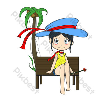 Autumn tour cartoon cute girl traveling by the sea PNG Images Template PSD