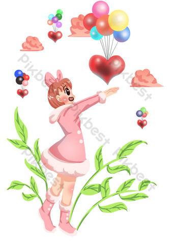Balloon send blessing hand drawn illustration PNG Images Template PSD