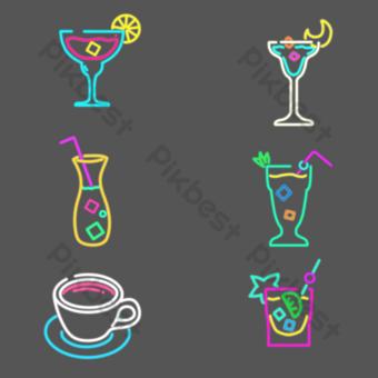 bar neón decoracion copa de vino icono png Elementos graficos Modelo PSD
