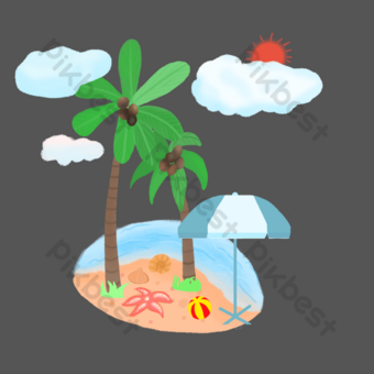 Beach coconut tree seaside trip PNG Images Template PSD