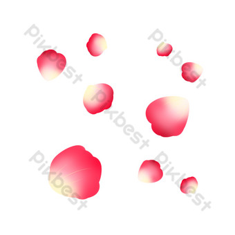 Carte de boucle libre de beaux pétales tombants Éléments graphiques Modèle PSD