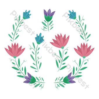 hermosa corona de flores de vector dibujado a mano Elementos graficos Modelo AI