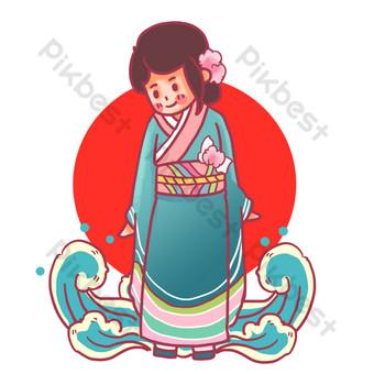 جميل اليابانية كيمونو امرأة صور PNG قالب PSD