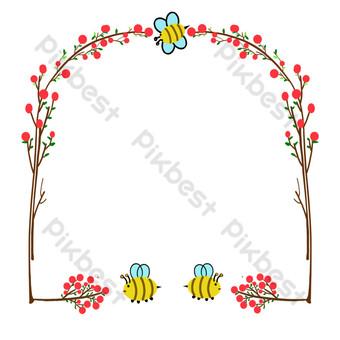 النحل زهرة إطار الصورة صور PNG قالب PSD