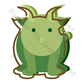 ilustrasi kartun kerbau hijau besar Elemen Grafis Templat PSD