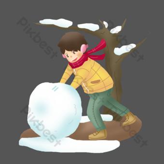 gran personaje frío e ilustración de bola de nieve Elementos graficos Modelo PSD