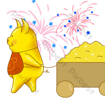 Big golden pig pulling the gold and silver jewelry slowly PNG Images Template PSD