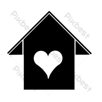 عنصر بناء منزل أسود على شكل قلب صور PNG قالب PSD