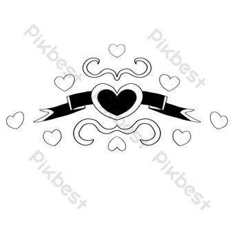 أسود الخوخ القلب الشريط التوضيح صور PNG قالب PSD