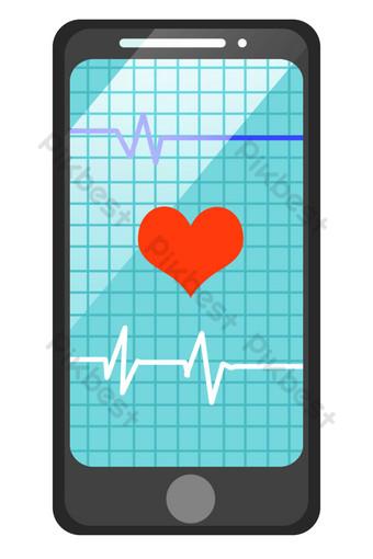 التوضيح مخطط القلب الهاتف الأسود صور PNG قالب PSD
