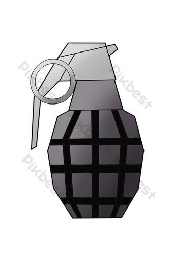 قنبلة يدوية سوداء منقوشة التوضيح صور PNG قالب PSD