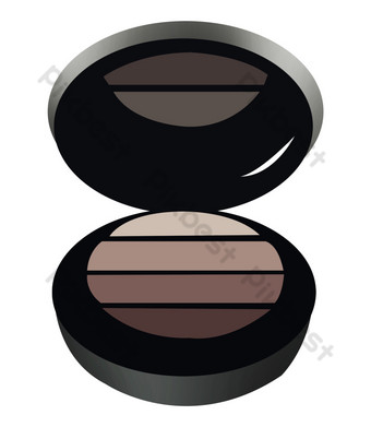 paleta de sombra de ojos redonda negra Elementos graficos Modelo PSD