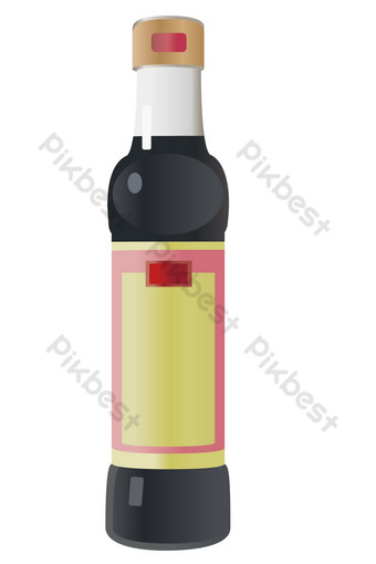 Black seasoning soy sauce PNG Images Template PSD