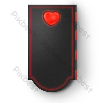 أسود ستيريو القلب الأحمر التسمية صور PNG قالب PSD