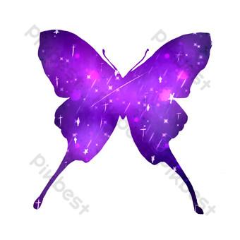 синий бабочка свободный вырез Графические элементы шаблон PSD