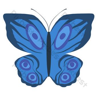 الكرتون الأزرق وامض فراشة كبيرة صور PNG قالب PSD