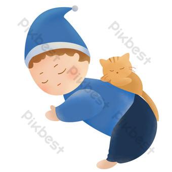 anak kucing baju biru Elemen Grafis Templat PSD