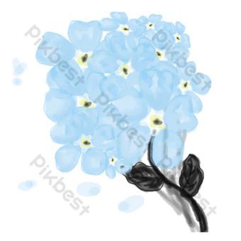 синие цветы свободный вырез Графические элементы шаблон PSD