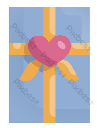 مربع شكل قلب أزرق صور PNG قالب PSD