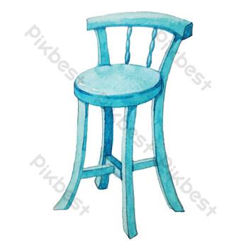 كرسي أثاث أزرق مرتفع التوضيح صور PNG قالب PSD