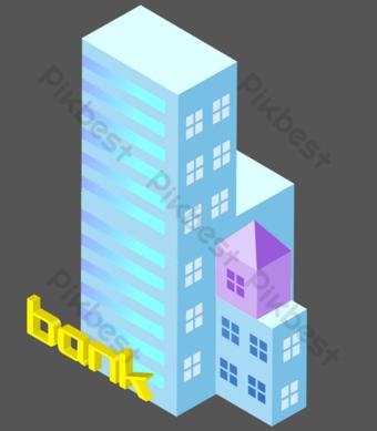 مبنى مرتفع أزرق 25 د صور PNG قالب PSD