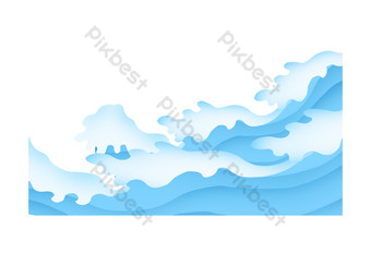 Blue ocean wave white wave summer seaside vacation free png PNG Images Template PSD