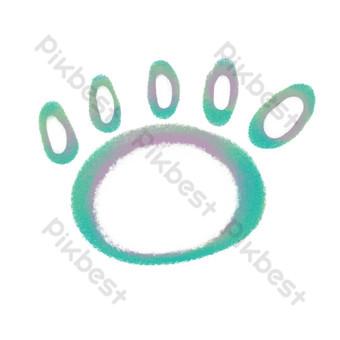 آثار أقدام فروي التدرج الأزرق الأرجواني صور PNG قالب PSD