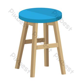 كرسي مرتفع مستدير أزرق التوضيح صور PNG قالب PSD