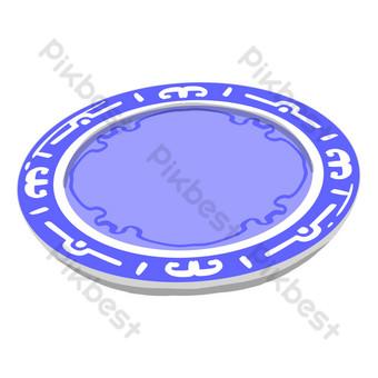 ilustración de placa redonda azul Elementos graficos Modelo PSD