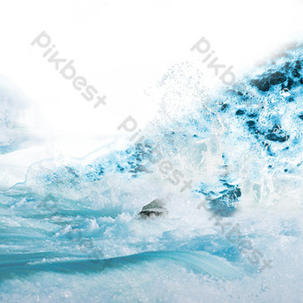 Blue sea ripples PNG Images Template PSD