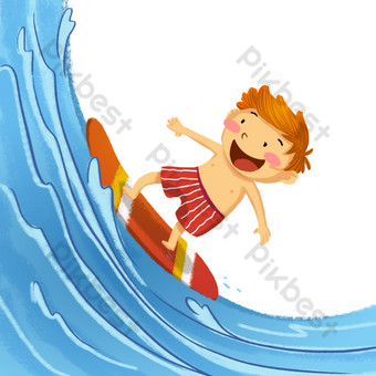 Blue sea sports surfing character PNG Images Template PSD