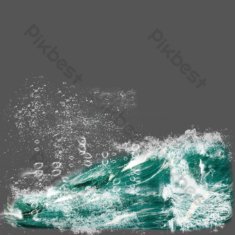 Blue sea wave spray element PNG Images Template PSD