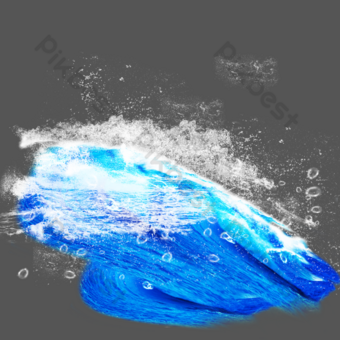 Blue sea white spray element PNG Images Template PSD
