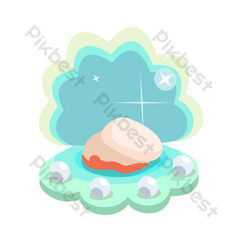 Blue seashell hand drawn illustration PNG Images Template PSD