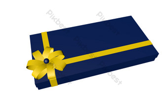 Blue senior gift box vector PNG Images Template C4D