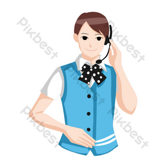 Blue suit professional customer service PNG Images Template PSD