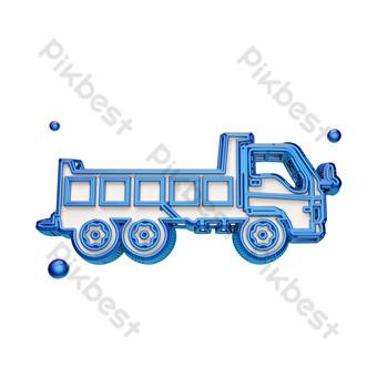icono de camión de transporte azul Elementos graficos Modelo PSD