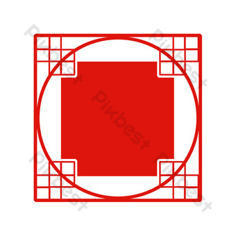 textura de borde cuadrado rojo fondo rojo borde de estilo chino Elementos graficos Modelo PSD