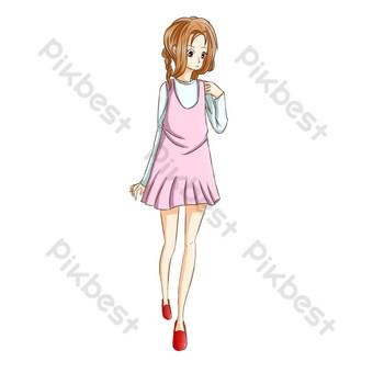 無聊的女孩在蝴蝶結綠色裙子赤腳女僕裝 元素 模板 PSD
