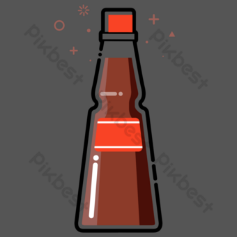 Bottled Soy Sauce Seasoning PNG Images Template PSD
