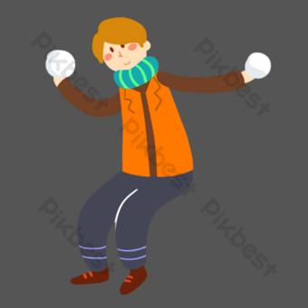 niño lanzando una bola de nieve gratis png Elementos graficos Modelo PSD