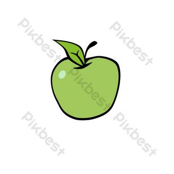 manzana brillante con patrón de decoración de frutas Elementos graficos Modelo PSD