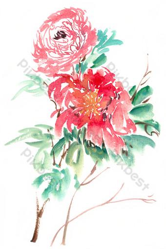 patrón de flores brillantes acuarela png gratis Elementos graficos Modelo PSD