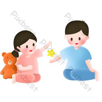 Cartoon children send five-pointed star element design PNG Images Template PSD
