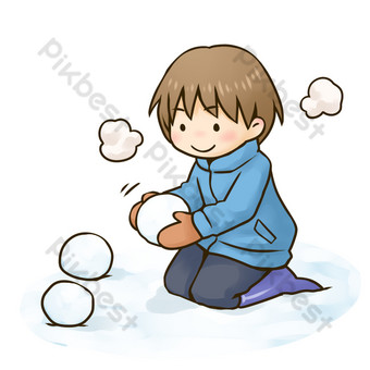 chico lindo de dibujos animados en bola de nieve en invierno Elementos graficos Modelo PSD